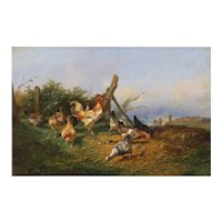 """Farmyard with Poultry"" Antique French Oil Painting by Emile Lemmens (French, 1821-67)"