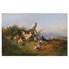 """""""Farmyard with Poultry"""" Antique French Oil Painting by Emile Lemmens (French, 1821-67)"""