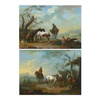 Pair of 18th Century Antique Landscape Paintings attributed to Pieter Van Bloemen