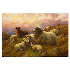 """Sheep at Rest in the Highlands"" (1814) Antique Oil Painting by Robert Watson"