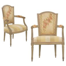 Pair of French Louis XVI Gray Painted Arm Chairs