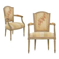 19th Century Pair of French Louis XVI Painted Beechwood Antique Arm Chairs