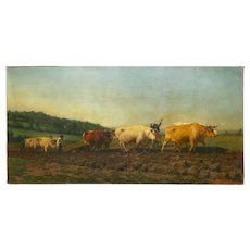 """Monumental Landscape Painting of """"Ploughing in Nivernais"""" after Rosa Bonheur"""