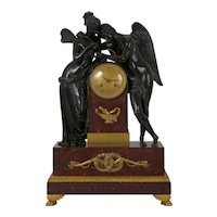 French Empire Antique Mantel Clock w/ Bronze Sculpture of Cupid & Psyche