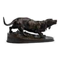 """19th Century French Antique Bronze Sculpture of """"Basset Hound"""" by Pierre Jules Mene"""