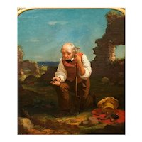 """Antique Circa 1854 Painting """"Relic Hunter"""" by Charles F. Blauvelt (American, 1824-1900)"""