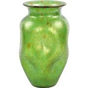 Art Nouveau Antique Green Handblown Glass Vase, Early 20th Century