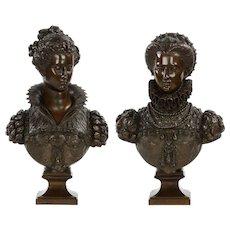 Pair of Renaissance Bronze Busts after Mathurin Moreau c. 1870