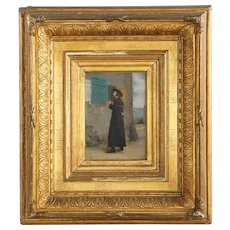Antique French Painting of Priest at Election by Vincent Chevilliard, Signed