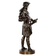 "Authentic Antique French Bronze Sculpture by Emile Picault of ""Imagier"""