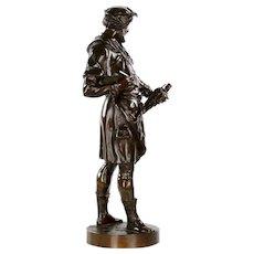 "Authentic Antique French Bronze Sculpture by Emile Picault of ""Imagier"""