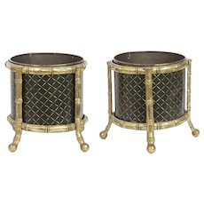 19th Century Pair of Regency Period Tole Cachepots Jardinière Planters