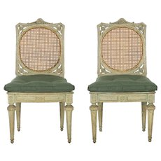 Pair of Northern Italian Neoclassical Antique Side Chairs circa 1790-1810
