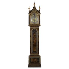 English George III Antique Japanned Tall Longcase Clock by Daniel Keele circa 1770