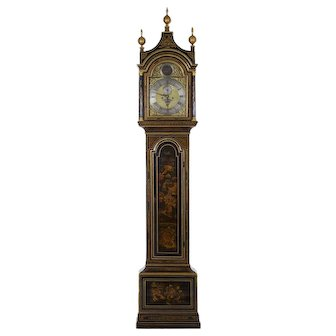English George III Antique Japanned Tall Longcase Clock by Daniel Keele circa 1770