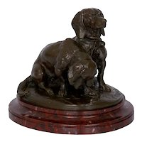 French Antique Bronze Sculpture of Basset Hounds by Emmanuel Fremiet & Barbedienne