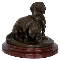 French Antique Bronze Sculpture of Basset Hounds by Emmanuel Fremiet & Barbedienne