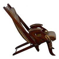 English Mahogany and Leather Reclining Metamorphic Campaign Chair