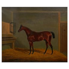 """""""A Bay Racehorse in Stable"""" (1832) Antique English Painting by James Loder"""