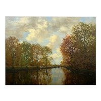 """Along the Vordense Beek"" Antique Barbizon Landscape Painting by Arnold Marc Gorter"