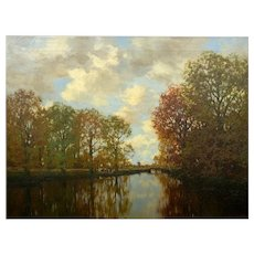 """Along the Vordense Beek"" Antique Barbizon Landscape Painting by Arnold Marc Gorter"
