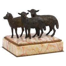 "Victorian Bronze Sculpture of ""Three Lambs"" Paperweight over Rose Marble, 19th Century"