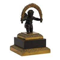 19th Century Empire Antique Bronze Sculpture Paperweight of Cherub