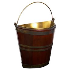 Antique George III Brass-Bound Mahogany Peat Bucket, 19th Century