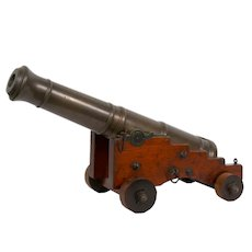 Rare George III Brass and Mahogany English Antique Signal Cannon, 19th Century