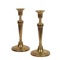 Pair of English Antique George III Brass Candlesticks, 19th century