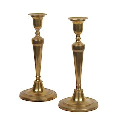 Pair of English Antique George III Brass Candlesticks, 19th century