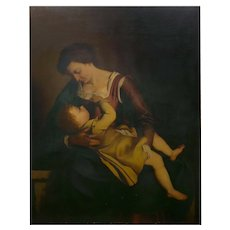 """Madonna & Child"" 19th Century Copyist Oil Painting after Orazio Gentileschi"