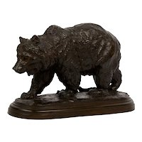 """Walking Bear"" French Antique Bronze Sculpture by Isidore Bonheur"