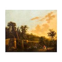 "17th Century Dutch Painting ""An Italianate Landscape"" by Adriaen Jansz Ocker"