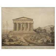 """19th Century Lithograph """"View of the Temple of Concordia, Agrigente"""" after Gaertner"""