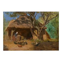 "Circa 1870s ""Feeding the Chickens"" French Antique Barbizon Oil Painting"