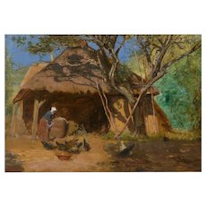 """Circa 1870s """"Feeding the Chickens"""" French Antique Barbizon Oil Painting"""