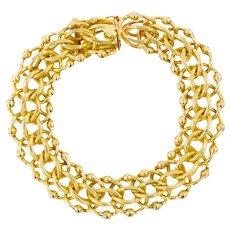 """14 Karat Yellow Gold Estate Triple-Link Chain Bracelet, 7"""" long"""