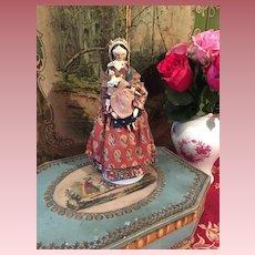Beautiful  Wooden Grödner Doll with little Grödner Girl