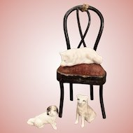 Three Little Dollhouse Dogs and Chair