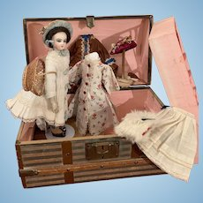 Adorable Little Jumeau Fashion Doll with Trunk