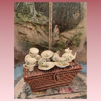 Early Wooden Coffee Tea Set in Basket