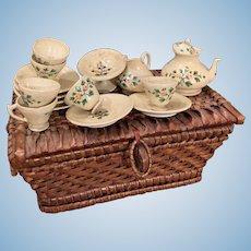Early Wooden Coffee Tea Set in Basket