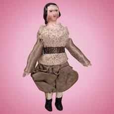 Early Little Wooden Mache Dollhouse Doll