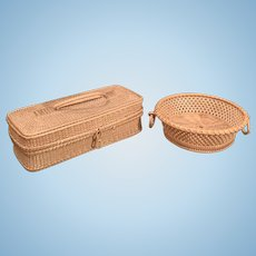 Two Fine Early Straw Baskets for Dolls
