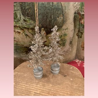 Two Lovely wire-wrapped Christmas Trees for Dollhouses