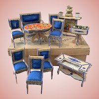 Rare Early French Dollhouse Furniture Set