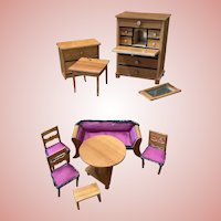 Early Dollhouse Furniture Set in Box