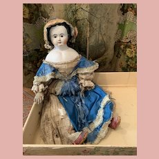 *Final Sale* Big Early German Paper Mache Doll in Box - Attic Found-