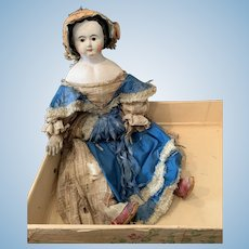Big Early German Paper Mache Doll in Box - Attic Found-